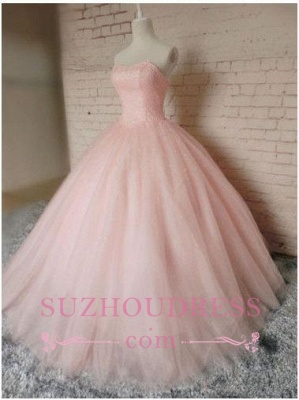 Chic Sweetheart Pink Tulle Sleeveless Gown Ball Princess Prom Dresses_1