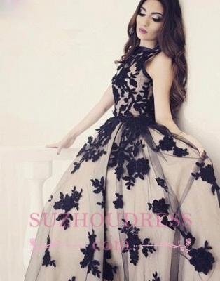 Scoop-Neckline Ball-Gown  Apppliques Elegant Sweep-train Prom Dress_3