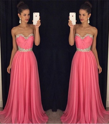Sweetheart Beaded Crystals  Long Evening Dresses Chiffon Blue Prom Dress GA066_3
