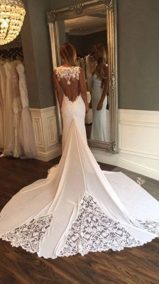 Open Back Sheath Wedding Dresses Sleeveless Vintage Lace Bride Dress_4