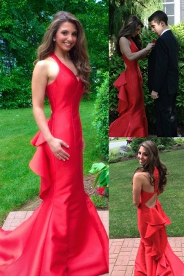 Sleeveless Mermaid Long Prom Dresses  Red Halter Evening Gown_2