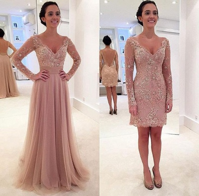 New Arrival Long Sleeve Crystal Prom Dress with Detachable Train Latest Lace Evening Gowns JT145_2