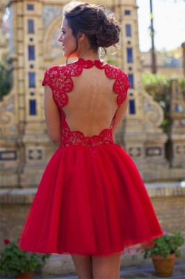 Cap Sleeves Lace Homecoming Dresses Red  Open Back  Hoco Dress HC0012_3