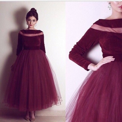 Burgundy Tulle Ankle Length  Prom Dress Bateau Velvet Long Sleeve Evening Dress BA4254_2
