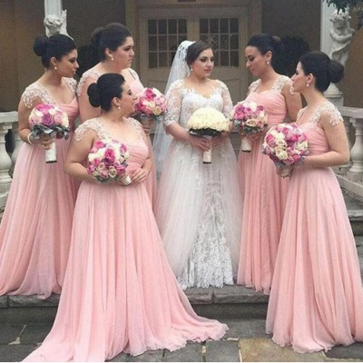 Cap Sleeves Pink Chiffon  Bridesmaid Dresses  Appliques Maid of Dresses Online_4