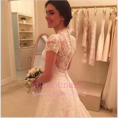 Newest Sweep-Train Zipper Short-Sleeve A-line Lace Wedding Dress BD034_4