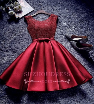 Red Lace-Up-Back A-line Homecoming Dresses Bowknot-Sash BA7429_3