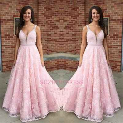 Elegant Sleeveless Lace V-Neck Pink Crystal Prom Dress_1