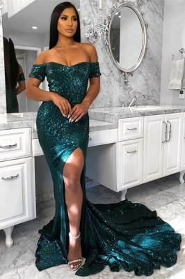 Off The Shoulder Shiny Sequins Evening Dress | Sexy Slit Prom Dresses  with Court Train_1
