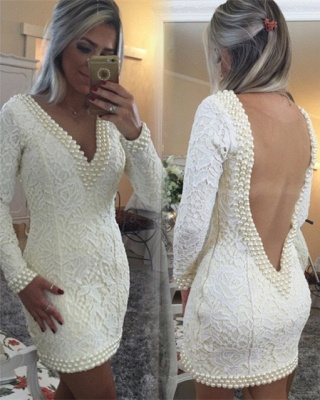 Sexy V-Neck Long Sleeve Mini Cocktail Dress with Beadings Popular Open Back Plus Size Evening Dress BMT015_2