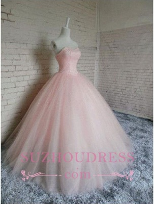 Chic Sweetheart Pink Tulle Sleeveless Gown Ball Princess Prom Dresses_4