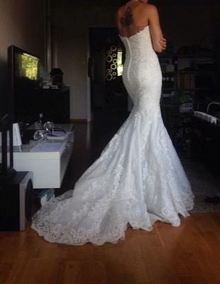 Beautiful White Lace Mermaid Bridal Gown Popular Custom Made Trumpet Plus Size Wedding Dress BA9654_2