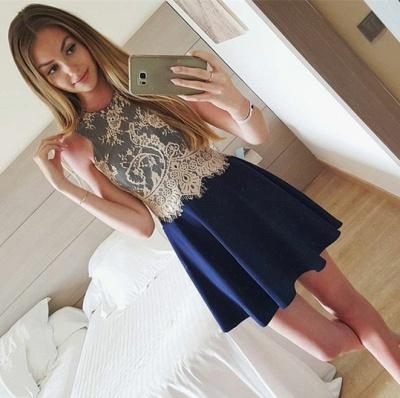 New Arrival Blue Lace Mini Homecoming Dresses A-Line Sleeveless Short Summer Dress_1