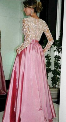Sexy V-Neck Long Sleeve Lace Evening Dress Simple Pink Custom Made Popular Prom Dress_2
