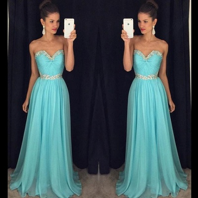 Sweetheart Beaded Crystals  Long Evening Dresses Chiffon Blue Prom Dress GA066_4