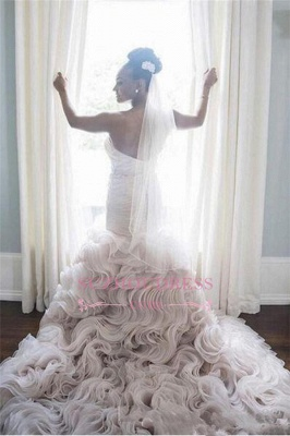 Organza Sweetheart Ruffles Sheath Court-Train Open-Back Wave-Design Sleeveless Wedding Dress_3