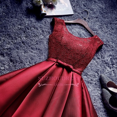 Red Lace-Up-Back A-line Homecoming Dresses Bowknot-Sash BA7429_5