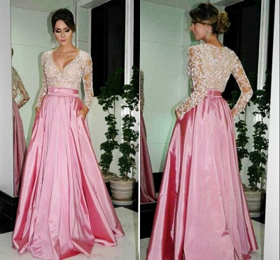 Sexy V-Neck Long Sleeve Lace Evening Dress Simple Pink Custom Made Popular Prom Dress_3