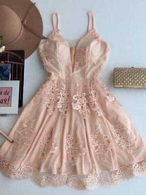 Elegant A-line Spaghetti Straps Homecoming Dresses  Short Zipper Party Dress_1