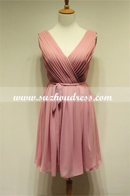 V-Neck  Simple Chiffon Pink Summer Dresses Ruffle Mini Popular Fitted Plus Size Homecoming Dresses_1