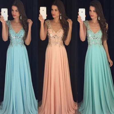 Elegant A-Line Crystal Chiffon Prom Dress Plunging Neck Beading  Party Dresses_3