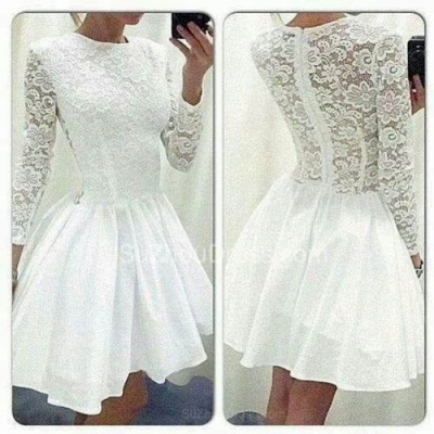 A-Line White Long Sleeve Mini Homecoming Dress Latest Formal Lace Zipper Short Dresses for Women BA3670_2