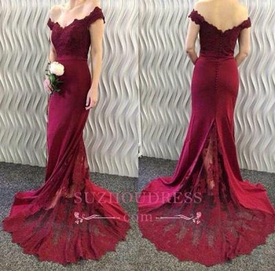 Mermaid Off-the-Shoulder Burgundy Evening Dresses  Lace Appliques Long Prom Dresses BA3997_1