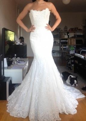 Beautiful White Lace Mermaid Bridal Gown Popular Custom Made Trumpet Plus Size Wedding Dress BA9654_1