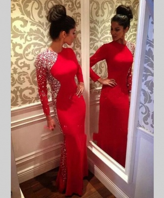 Crystal Red Long Sleeve Prom Dress with Beadings New Arrival Floor Length Evening Gown JT097_1