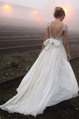 V-neck Summer Outdoor Wedding Dress Lace Cap Sleeve Open Back Bridal Gowns_3