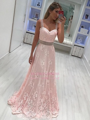 A-line lace prom dresses  | Pink Strape Crystal Evening Gowns_3