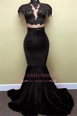 Red Lace Mermaid Popular High-Neck Velvet Cap-Sleeves Prom Dress BA5155_1