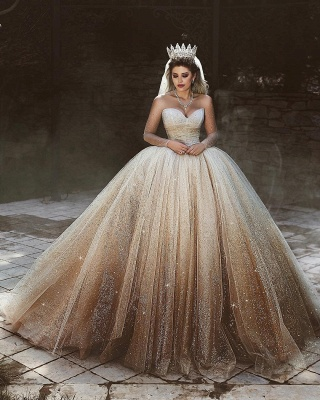 Scoop Long-Sleeves Wedding Dresses with Sequins Tulle Floor-Length Bridal Gowns Online_3