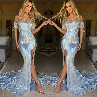 Sexy Side Slit Shiny Sequins Evening Dress   Off The Shoulder  Formal Dress_3