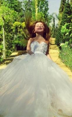 Cute White Sweetheart Lace Flower Girl Dress A-Line Tulle Long Sleeveless Dresses for Girls BA5056_2