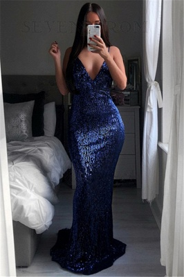 Sexy Sequined V-Neck Evening Dresses  | Mermaid Backless Simple Party Dress_1