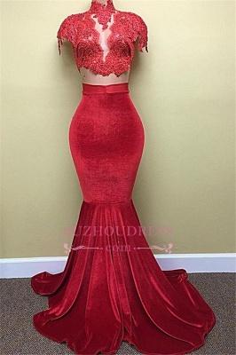 Red Lace Mermaid Popular High-Neck Velvet Cap-Sleeves Prom Dress BA5155_3