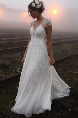 V-neck Summer Outdoor Wedding Dress Lace Cap Sleeve Open Back Bridal Gowns_1