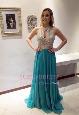 Sleeveless Keyhole A-line Zipper Glamorous Beads Chiffon Prom Dress_2