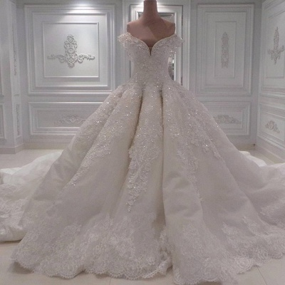 Affordable Ball Dresses Wedding Dresses Off The Shoulder Lace Bridal Gowns On Sale_3