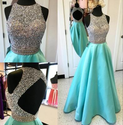 A-line Satin Floor Length Beaded Sequins Evening Gowns Open Back Sleeveless Prom Dress_3