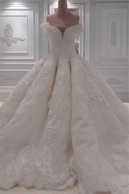 Affordable Ball Dresses Wedding Dresses Off The Shoulder Lace Bridal Gowns On Sale_1