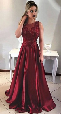 Sleeveless Burgundy Prom Dress A-line Sheer Tulle Appliques Long Formal Evening Gown_1
