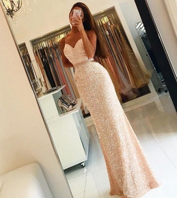 Spaghetti Straps Sequins Long Evening Dresses Open Back  Prom Dress with Beading Belt BA3978_4
