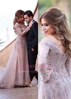 Elegant Lace-Appliques Sweep-Train A-line Long-Sleeve Zipper Off-the-shoulder Evening Dress_3