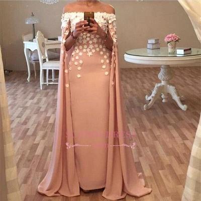 Long Floor Length Designer Cape Evening Dresses  Appliques Flowers Glamorous Prom Dress_1