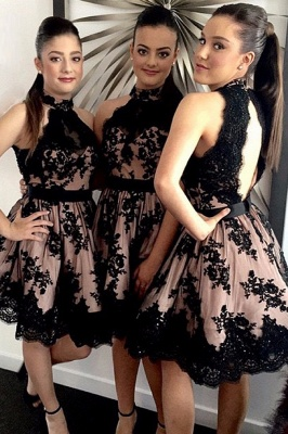 High Neck Black Lace  Short Bridesmaid Dresses_2