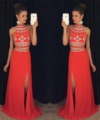 High Collar Beading Two Piece Prom Dress Blue Open Back Split Formal Occasion Dresses_3