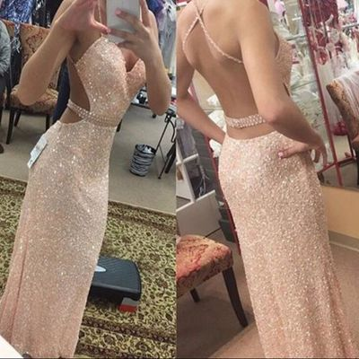 Spaghetti Straps Sequins Long Evening Dresses Open Back  Prom Dress with Beading Belt BA3978_3