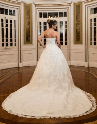 Strapless Sweetheart Lace Long Train Wedding Dress   Bride Dresses_3